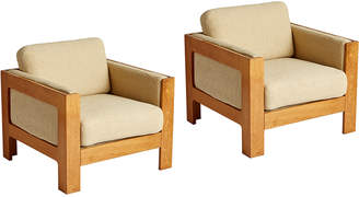 Rejuvenation Pair of Modern Cube Lounge Chairs Mfg by Magnus Olesen