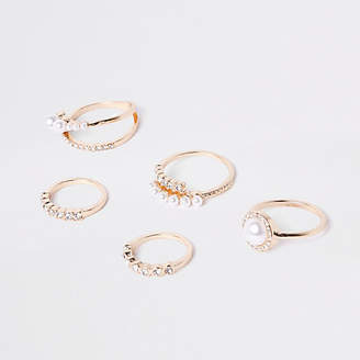 River Island Gold tone pearl ring pack