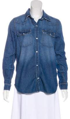 GRLFRND Denim Long Sleeve Button-Up Top
