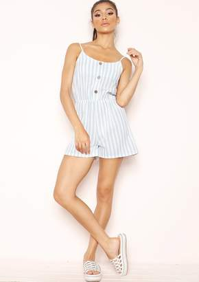e58df296fffa Missy Empire Missyempire Diana Blue Stripe Button Playsuit