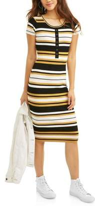 Say What Juniors' Short Sleeve Striped Bodycon Dress with Buttons