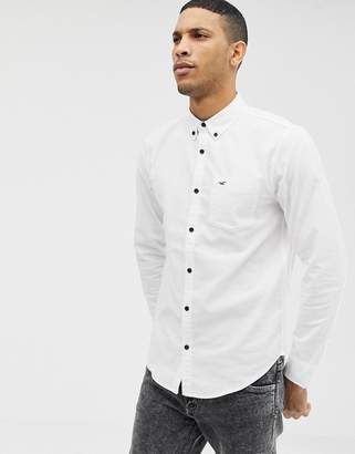 f64ca2c1 Hollister icon logo button down oxford shirt slim fit in white