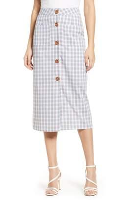 ENGLISH FACTORY Plaid Button Down Midi Skirt