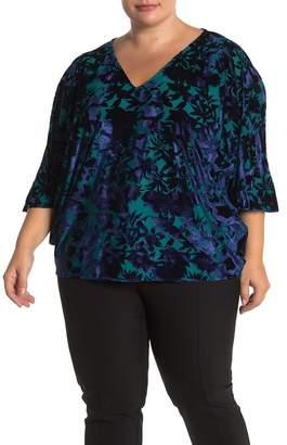 Leota Burnout Velvet 3/4 Sleeve Top (Plus Size)