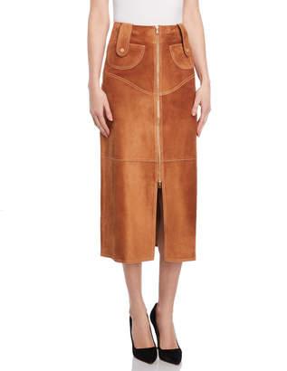 Derek Lam Suede Strap Midi Skirt