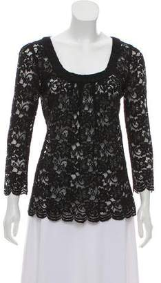 Diane von Furstenberg Lace Three-Quarter Sleeve Top