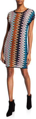 M Missoni Multicolor Cap-Sleeve Mini Shift Dress