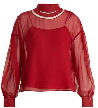 Fendi - Cut Out Neck Silk Chiffon Blouse - Womens - Red