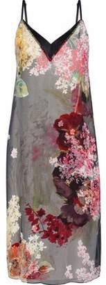 Lanvin Satin-Trimmed Floral-Print Silk-Chiffon Slip Dress