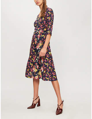 Claudie Pierlot Floral-print silk-crepe dress