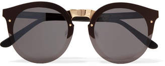 Illesteva - Palermo Round-frame Gold-tone And Acetate Sunglasses - Black $240 thestylecure.com