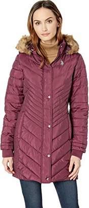 U.S. Polo Assn. Women's Long Chevron Quilted Puffer Jacket