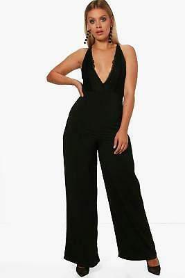boohoo NEW Womens Plus Woven Wide Leg Trouser in Polyester 5% Elastane