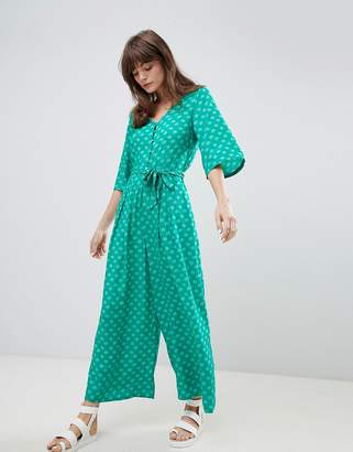 Monki Seashell Print Tie Front Cropped Jumpsuit