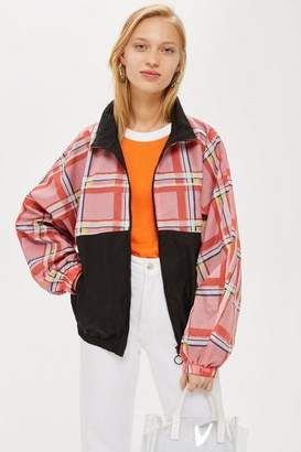 Topshop Petite Check Windbreaker Jacket