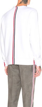 Thom Browne Back Stripe Crewneck Pullover in White | FWRD