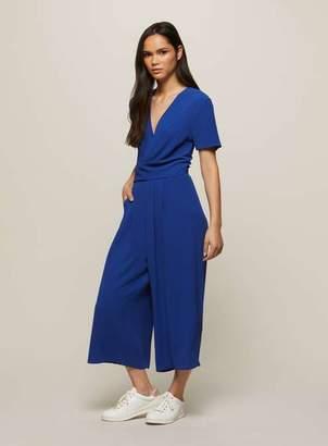 Miss Selfridge Blue twist front culotte jumpsuit