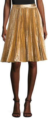 Manoush Lurex Pleated Flared Skirt