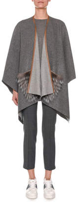 Agnona Open-Front Cashmere Shawl with Fur Pockets