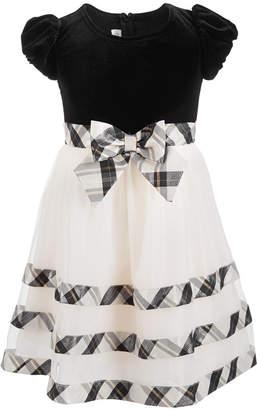 Bonnie Jean Little Girls Velvet Plaid Party Dress