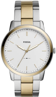 Fossil Men Minimalist Two-Tone Stainless Steel Bracelet Watch 44mm