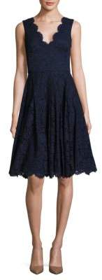 Vera Wang Solid Scalloped Lace Dress $228 thestylecure.com