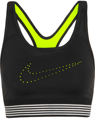 Nike - Pro Classic Mesh-trimmed Perforated Stretch-jersey Sports Bra - Black