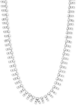 """Steve Madden Silver-Tone Crystal 18"""" Collar Necklace"""
