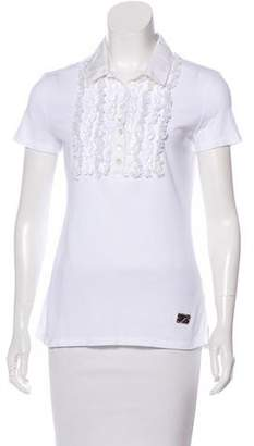Blumarine Ruffle-Accented Polo Top