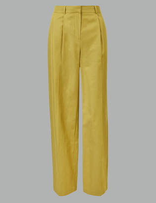 e17e41bf2a AutographMarks and Spencer Linen Blend Wide Leg Ankle Grazer Trousers