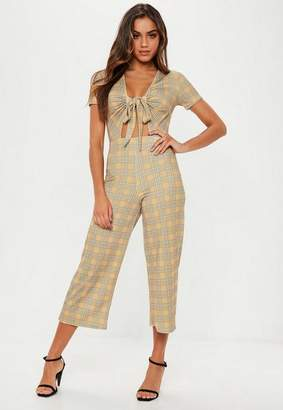 Missguided Mustard Check Tie Front Culotte Romper
