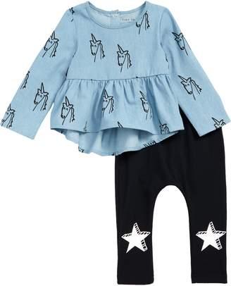 TINY TRIBE Unicorn Frilly Top & Leggings Set