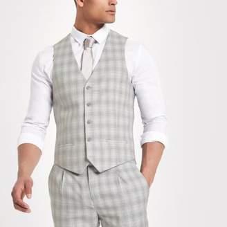 River Island Light grey check suit vest