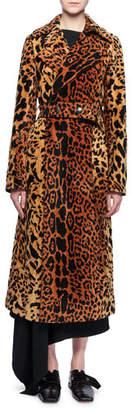 Victoria Beckham Leopard-Jacquard Belted Velvet Coat
