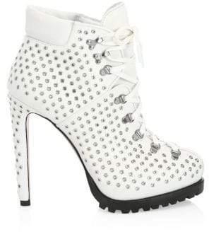 Gucci Alaà ̄a Alaà ̄a Women's Leather Grommet Lace-Up Booties - White - Size 36.5 (6.5)