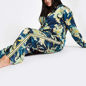 River Island Womens Plus Blue jacquard floral pyjama trousers