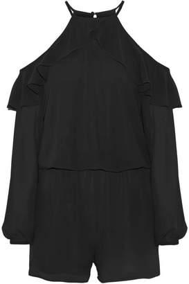 MICHAEL Michael Kors Ruffled Cold-shoulder Chiffon Playsuit - Black