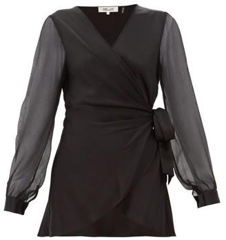 Diane von Furstenberg Klee Silk Sleeve Satin Wrap Blouse - Womens - Black