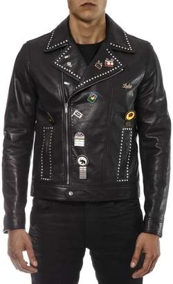 Saint Laurent Black Leather Jacket With Metal Studs And Pins