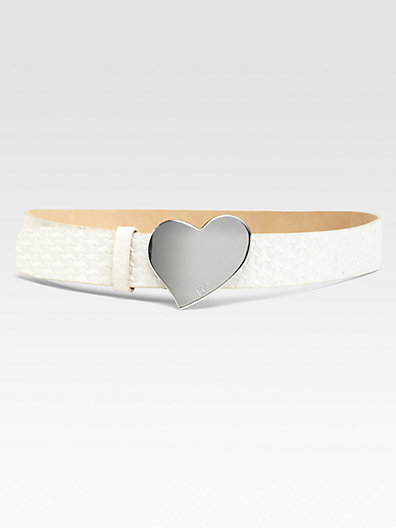 Diane von Furstenberg Basketweave Heart Buckle Belt