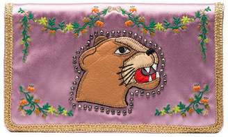 Gucci Multicoloured Broadway Lion Silk Clutch