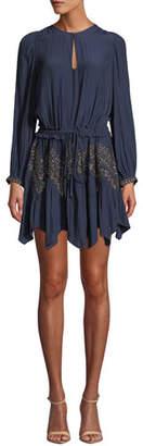 Ramy Brook Hanna Embellished Long-Sleeve Handkerchief Dress