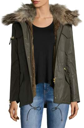SAM. New York Women's Kate Rabbit Fur and Raccoon Fur-Accented Convertible Parka