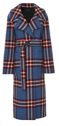 Joseph Teodor Belted Checked Cashmere Coat
