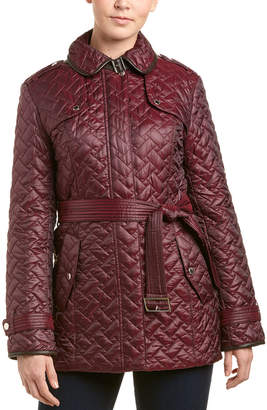 Cole Haan Leather-Trim Quilted Coat