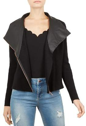 Ted Baker Seeari Merino Wool & Leather Biker Jacket