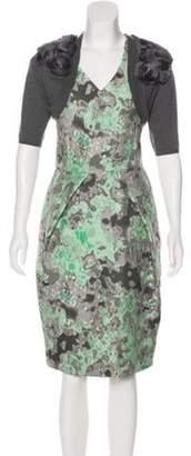 Lela Rose Embroidered Midi Dress Set grey Embroidered Midi Dress Set