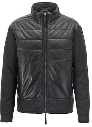 HUGO BOSS Padded blouson jacket in leather and technical canvas