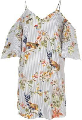 River Island Womens Blue floral print cold shoulder swing dress