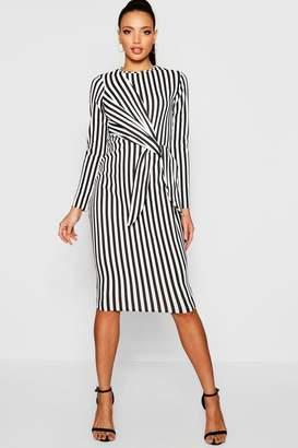 boohoo Stripe Side Tie Long Sleeve Midi Dress